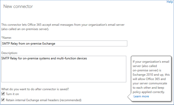Office 365 as SMTP server new connector