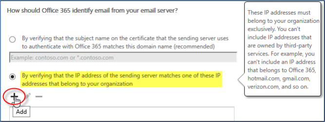 Office 365 as SMTP server verify ip address